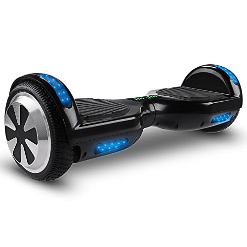 VEEKO Self Balancing Scooter Black Hoverboard with LED Indicator Lights, 350W Dual Motor, UL 2272/2271 Certificate, Alloy Durable Wheels
