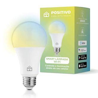 Smart Lâmpada Wi-Fi, Positivo Casa Inteligente, 806 lúmens, controle de temperatura de cor, branco frio e quente, 16 milhões de cores decorativas, Compatível com Alexa