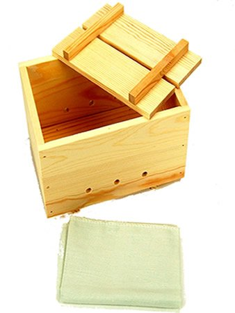 Wood Tofu Mold with Cheesecloth - Large Press for Making Tofu - Makes Up To 3.5 Lbs per Batch.