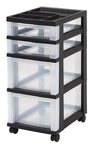 IRIS 4-Drawer Rolling Storage Cart with Organizer Top, Black