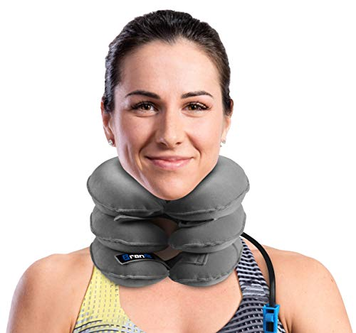 Best Cervical Neck Traction Device & Collar Brace by BRANFIT, Inflatable & Adjustable USA Designed Neck Support & Stretcher is Ideal for Spine Alignment & Chronic Neck Pain Relief