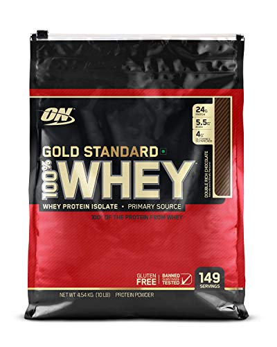 Optimum Nutrition (ON) Gold Standard 100% Whey Protein Powder – 10 lbs, 4.54 kg (Double Rich Chocolate)