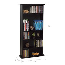 Atlantic Drawbridge Media Storage Cabinet – Store & Organize A Mix of Media 240Cds, 108DVDs Or 132 Blue-Ray/Video Games, Adjustable Shelves, PN37935726 in Black