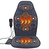 Comfitech Car Seat Back Massager Chair Pad Cushion with Heat, 6 Vibrating Motors for Office, Auto, Home (Gray)