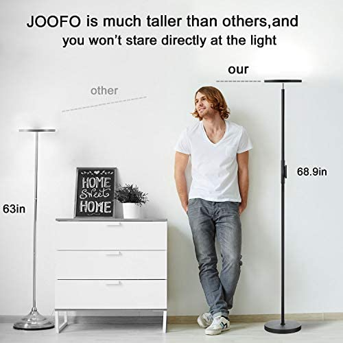 Floor Lamp,30W/2400LM Sky LED Modern Torchiere 3 Color Temperatures Super Bright Floor Lamps-Tall Standing Pole Light with Remote & Touch Control for Living Room,Bed Room,Office(Black)