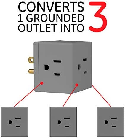 41o1VL5jBvL. AC  - GE 3-Outlet Wall Tap, 5 Pack, Extra-Wide Adapter Spaced, Grounded, Easy Access Design, Indoor, Gray, 47038 #Amazon