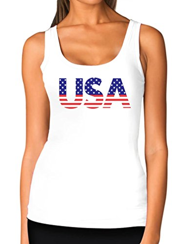 American USA Flag Girls Top 4th of July Patriotic Women Tank Top Large White