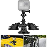 Camera Suction Cup Mount Triple w/Ball Head Compatible with GoPro Sony Nikon Key Mission Action Camera Car Suction Cup Mount Car Mount Holder Windshield Window Mount