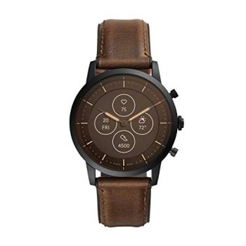 Fossil Men's Collider HR Heart Rate Stainless Steel and Leather Hybrid Smartwatch, Color: Black, Brown (FTW7008)