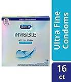 Condoms, Ultra Thin Lubricated Natural Latex, Durex Invisible Condoms, 16 Count, Durex's Thinnest Condom for men