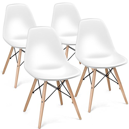 Giantex Set of 4 Mid Century Modern Style DSW Chair Wood Assembled Legs for Kitchen, Dining, Bedroom, Living Room, White