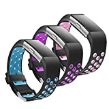 Jobese Compatible with Fitbit Charge 2 Bands, (3 Pack) Two-Tone Soft Breathable Bands Compatible with Fitbit Charge 2 Silicone Accessories Replacement Wristbands Women Men