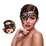Masquerade Mask for Couples Women Metal Rhinestone Venetian Pretty Party Evening Prom Ball Mask Luxury Metal Mask with Free Lace Mask 2 Pack (Half Face)