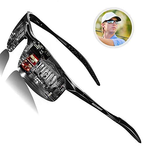ROCKNIGHT Driving Polarized Sunglasses for Men UV Protection Mirrored Sunglasses Ultra Lightweight Al-Mg Metal Outdoor Golf Fishing Sports Sunglasses Rimless