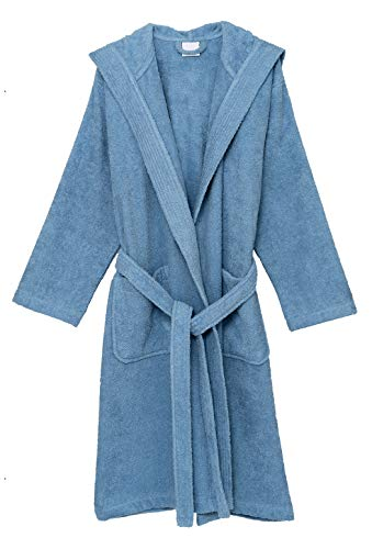 TowelSelections Women's Hooded Robe, Cotton Terry Cloth Bathrobe Large Blue