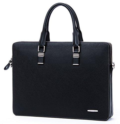 BOSTANTEN Leather Briefcase Shoulder Cross-body Laptop Business Bag for Men & Women