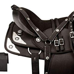 Blue Lake Silver Texas Star Quarter Horse Saddle Western Synthetic with Tack Set and Comfy Seat