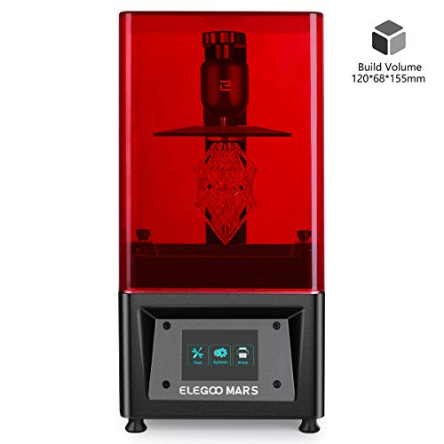 ELEGOO Mars UV Photocuring LCD 3D Printer with 3.5'' Smart Touch Color Screen Off-line Print 4.72'(L) x 2.68'(W) x 6.1'(H) Printing Size Black Version