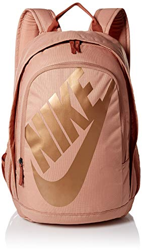 Nike Sportswear Hayward Futura Backpack for Men, Large Backpack with Durable Polyester Shell and Padded Shoulder Straps, Rose Gold/Dusty Peach/Metallic Red