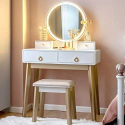 CHARMAID Vanity Set with Touch Screen Dimming Mirror, 3 Color Lighting Modes, Dressing Table with 4 Sliding Drawers, Modern Bedroom Makeup Table and Cushioned Stool Set for Women Girls (White)