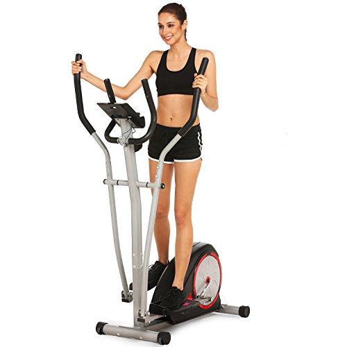 Fast 88 Portable Elliptical Machine Fitness Workout Cardio Training Machine, Magnetic Control Mute Elliptical Trainer with LCD Monitor, Elliptical Machine Trainer (Black)