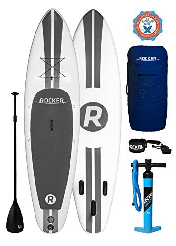 "iRocker Paddle Boards Inflatable 10' 6"" Thick SUP Package (White + Leash)"