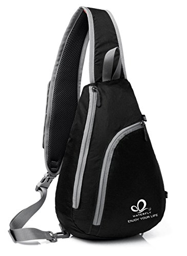 WATERFLY Chest Sling Shoulder Backpacks Bags Fashion Cute Crossbody Rope Triangle Rucksack for Hiking or Multipurpose Daypacks for Man Women Lady Girl Teens