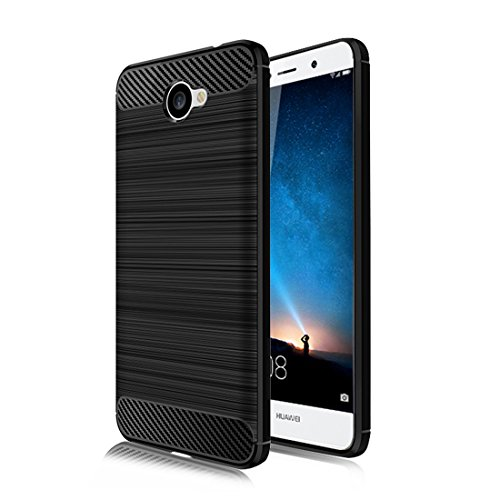 Huawei Ascend XT 2 Case,Huawei Elate 4G LTE Case,Mustaner Shock-Absorption Flexible TPU Rubber Soft Silicone Full-body Protective Cover for Huawei XT2 H1711 (Black)