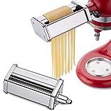 Pasta Cutter Attachment Set for KitchenAid Stand Mixer Includes Fettuccine and Spaghetti Cutter Accessory
