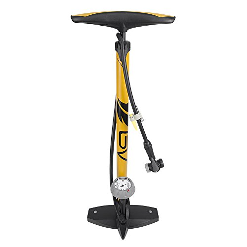 BV Bicycle Ergonomic Bike Floor Pump with Gauge & Smart Valve Head, 160 psi, Automatically Reversible Presta and Schrader