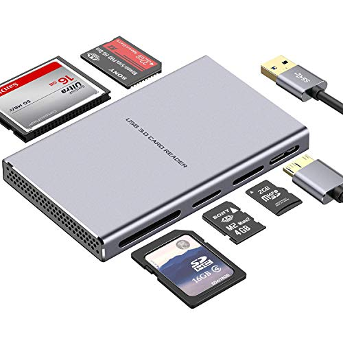 SD Card Reader, GIKERSY 5 in 1 USB 3.0 Memory Card Reader Adapter 5Gbps Read 5 Cards Simultaneously for SDXC, SDHC, SD, Micro SDXC, Micro SD, Micro SDHC, M2, MS, CF and UHS-I Card (Grey)