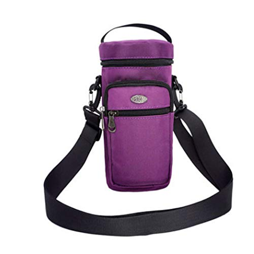 Fivtyily Portable Water Bottle Holder Carrier with 2 Pockets Single Adjustable Strap 50 oz (Purple)