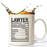 Law Lawyer Gifts Coffee Cup 11 Oz, Lawyer Attorney Nutritional Facts Funny Coffee Mug Inspirational And Motivational for Scales of Justice Paralegal Law Lawyer Attorney.