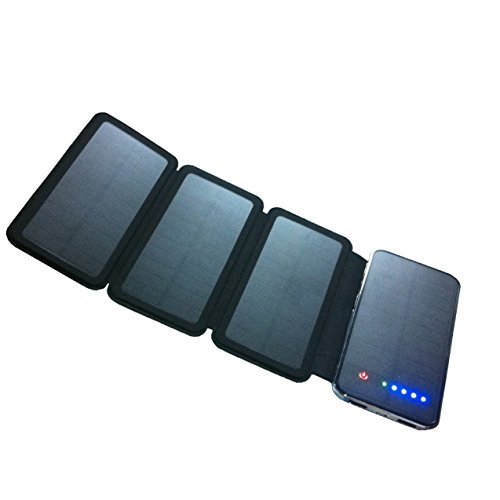 Solar Charger, Powerful Portable Phone Charger Equipped with Foldable Solar Panels & 10,000 mAh Dual USB Ports External Power Bank for Mobile Devices, Tablets & More Other USB-charged Devices