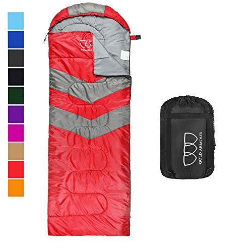 Sleeping Bag – Sleeping Bag for Indoor & Outdoor Use - Great for Kids, Boys, Girls, Teens & Adults. Ultralight and Compact Bags for Sleepover, Backpacking & Camping (Red / Gray - Left Zipper)