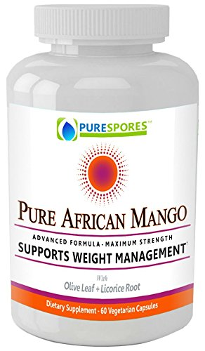 PURE AFRICAN MANGO - Appetite-Busting! The Ultimate All-Powerful Formula includes Super Strength Olive Leaf and Licorice Root. 1200mg, 60 Vegetable capsules, no fillers.