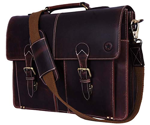 16' Leather Briefcase Messenger Bag for Laptop by Aaron Leather (Walnut)