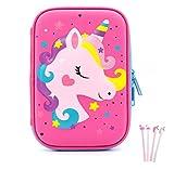 iDelta Unicorn Pencil Case, EVA Pen Pouch Stationery Box Anti-Shock for School Students Girls Teens Kids (Unicorn2 Pink)