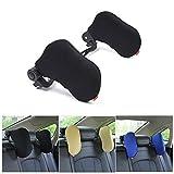 Car Neck Pillow, WZTO Car Seat Headrest Pillow Highly Elastic Nylon Both Sides Neck Pillow Adjustable Travel Pillow Comfortable Soft Car Neck Support Pillow (Black)