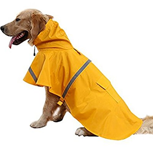 NACOCO Large Dog Raincoat Adjustable Pet Water Proof Clothes Lightweight Rain Jacket Poncho Hoodies with Strip Reflective (L, Yellow)