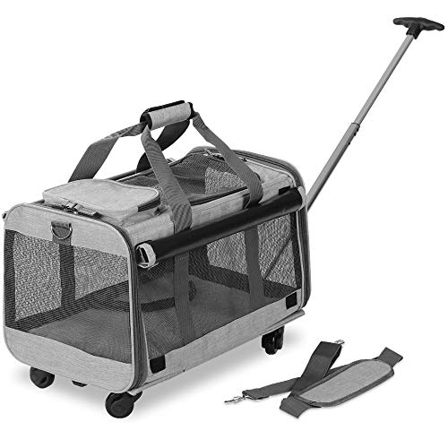 KOPEKS Pet Carrier with Detachable Wheels for Small and Medium Dogs & Cats - Heather Grey 1