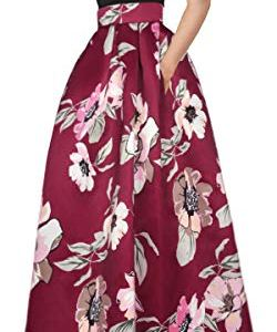 Delcoce Women's Sexy Two-Piece Floral Print Pockets Long Party Skirts Dress S-2XL 19 Fashion Online Shop gifts for her gifts for him womens full figure