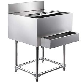 VEVOR-Stainless-Steel-Underbar-Ice-Bin-19-x-24-Inch-Rolling-Cooler-Cart-160-lbs-Ice-Capacity-with-Single-Speed-Rail-Ice-Chest-for-Bar-Silver-Stainless-Steel-Cooler-with-Sliding-Cover