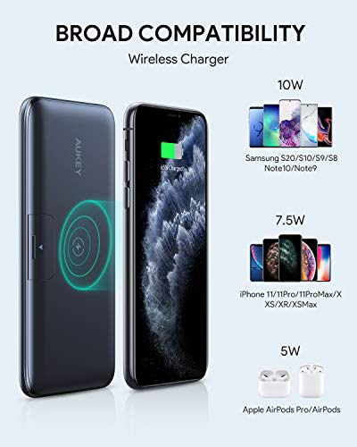 USB-C-Power-Bank-AUKEY-Wireless-10000mAh-Portable-Charger-with-Foldable-Stand-18W-Power-Delivery-Quick-Charge-30-Power-Bank-for-iPhone-1111-Pro-Samsung-iPad-More-1ft-A-to-C-Cable-Included