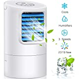 GREATSSLY Portable Air Cooler, Small Desktop Fan 3 Degree Changeable Angle Adjustable Compact Super Quiet Personal Table Fan Mini Evaporative Air Circulator Cooler Humidifier (White)
