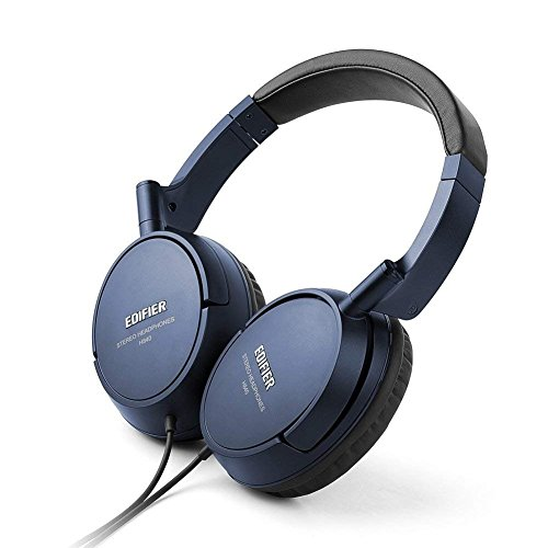 Edifier H840 Over-Ear Headphones, Stereo Lightweight Adjustable Wired Headset, Noise Isolating Comfortable Leather Earphones, Hi-Fi Deep Bass for iPhone iPod iPad MacBook MP3 Cellphone Laptop-Blue