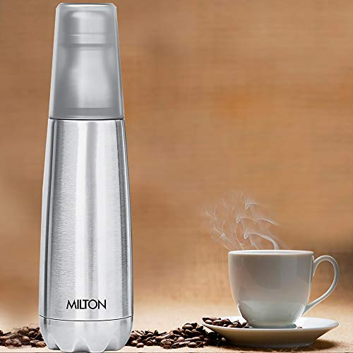 41os%2B8Q5JzL - Milton Vertex -750 Thermosteel  Water Bottle with Unbreakable Tumbler, 750 ml, Silver