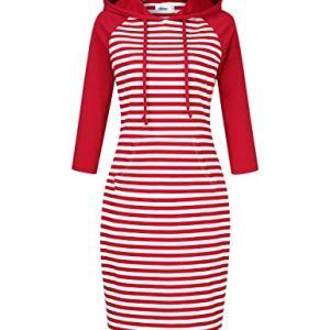 Women Stripes Pocket Knee Length Slim Casual Pullover Hoodie Dress