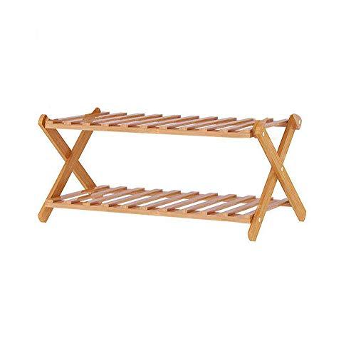 Rakumi Multi-Tier Foldable Bamboo Shoe Rack Multifunctional Free Standing Shoe Shelf Storage Organizer (2-Tier)