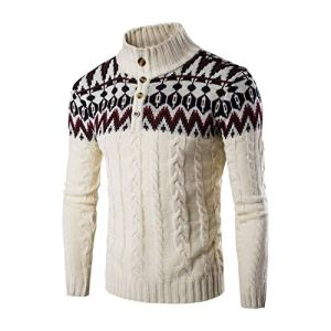 I'm good at you Brand Casual Sweater Stand Collar Pullovers Slim Men's Ethnic Style Pattern Sweaters